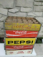 5 Vintage Red Yellow White Coca Cola Pepsi 7 UP Wood Soda Pop Coke Crates Lot