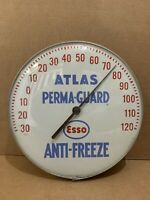 Vintage Esso Anti Freeze Thermometer Atlas Gas Oil Sign Perma Guard Garage Bar