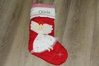 NWOT POTTERY BARN KIDS RED QUILTED CHRISTMAS STOCKING angel Olivia