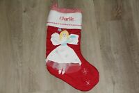 NWOT POTTERY BARN KIDS RED QUILTED CHRISTMAS STOCKING angel monogram Charlie