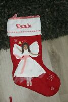 NWOT POTTERY BARN KIDS RED QUILTED CHRISTMAS STOCKING angel Natalie