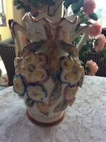 VTG. Majolica Art Pottery Two Handle Vase With Applied Flowers Made In England