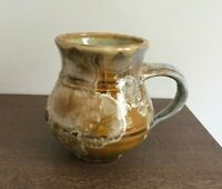 BILL CAMPBELL POTTERY Golden Brown Crystalline Glaze Gordo Mug - VGUC