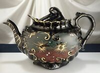 Antique Staffordshire Jackfield Black Pottery Teapot -  57286