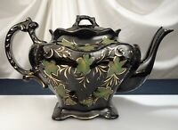 Antique Staffordshire Jackfield Black Pottery Teapot Ivy Pattern -  57287