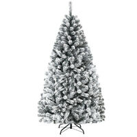 6ft Premium Snow Flocked Hinged Artificial Christmas Tree Unlit w/ Metal Stand