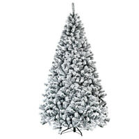 7.5ft Premium Snow Flocked Hinged Artificial Christmas Tree Unlit w/ Metal Stand
