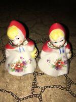 Vintage Hull Little Red Riding Hood Large 3 Inch Salt & Pepper Shakers Lot Of 2