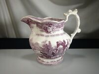Antique Staffordshire Purple Transferware Pitcher Abbey Ruins  -  57348