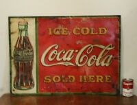 Vintage Ice Cold Coca~Cola Sold Here Embossed Tin Advertising Sign 27 3/8