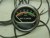 Vintage Dealer add-on Acc. Sun Bat-O-Meter 1960-66 Gauge Dash Chevy Hot Rod NHRA