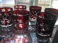 RUBY RED CUT TO CLEAR TUMBLERS GLASSES SET OF 6