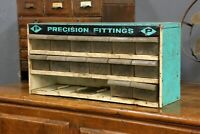 Vintage Precision Fittings Tools Machinist Hardware Store Display Cabinet Drawer