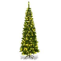 6.5ft Pre-Lit Hinged Artificial Pencil Christmas Tree with 250 Warm White Lights