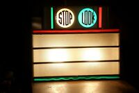 Vintage Lighted Marquee Menu Sign STOP light LOOK Metal glass theatre sign old