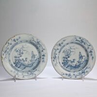 Pair 18C Blue & White English Delft Plates w Chinoiserie Landscape & Figures PT
