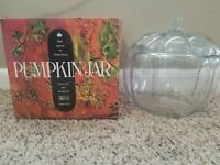 Anchor Hocking Glass Pumpkin Cookie Jar for Dunkin Donuts Vintage 1986 with Box