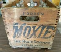 Vintage Moxie Wood Crate Case with 12 Bottles, 6 are Ted Williams