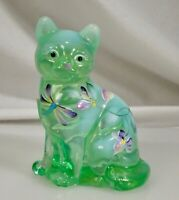 Fenton Green Opalescent Whispering Winds Handpainted Glass Cat Figurine 5165 UV