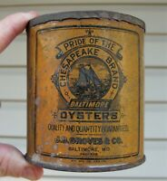 J.D. GROVES & CO BALTIMORE OYSTERS PINT OYSTER TIN CAN MARYLAND CHESAPEAKE BRAND