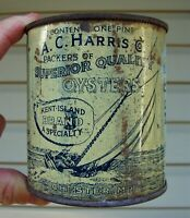 Nice Early A.C. HARRIS Co. PINT OYSTER TIN CAN MARYLAND ~ CHESTER, MARYLAND