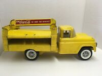Vintage Buddy L Coca-Cola Yellow Delivery Toy Truck Pressed Steel 1950's-60's