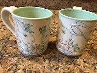 Davila 2017 Bunny Rabbit And Flowers Art Pottery Mugs NEW!
