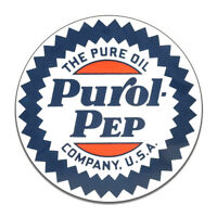 Purol Pep Pure Oil Company Motor Oil Gasoline Round MDF Wood Sign