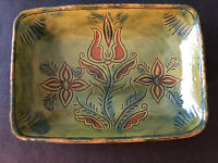 Lester Breininger Redware Sgraffito Pottery Flower Plate Robesonia, PA Signed 93