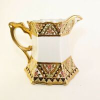 Antique NIPPON Hand Painted White W/ Raised Gold, Pink And Green Paint Pitcher