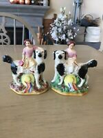 ANTIQUE  PAIR STAFFORDSHIRE FIGURINES FEMALE GIRLS SPANIEL DOGS