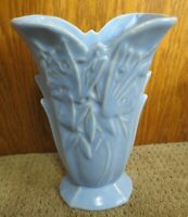Nelson McCoy Pottery Blue Matte Vase With Butterflies Marked NM USA