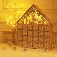 Countdown to Christmas Wooden LED Lighted Advent Calendar, 24 Drawers