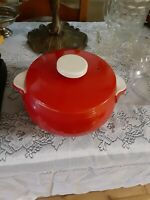 Vintage Hall Pottery Chinese Red Covered Casserole Bean Pot White Handles 1940s