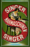 Singer Sewing Machines Motif 1 Tin Sign Shield 3D Embossed 7 7/8x11 13/16in