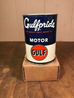 NOS FULL GULF GULFPRIDE MOTOR OIL METAL 1 QUART CAN