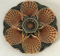 French Majolica Oyster Plate Marked Sarreguemines brown