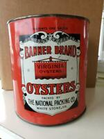 BANNER BRAND, WHITE STONE, VA OYSTER TIN CAN - GOOD CONDITION - NO LID
