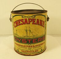 Vintage Chesapeake Woodfield Oysters Tin One Gallon Container Yellow and Green