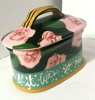 Droll Designs Small Poacher O, IT WAS SO MUCH FUN! Design Pink Roses Include Lid