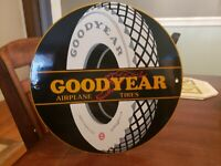 VINTAGE PORCELAIN GOODYEAR AVIATION  TIRE SIGN MADE IN USA L12