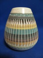 NEW! Stunning Authentic Navajo Southwest Rainbow Blue Sky Pottery Bowl Vase