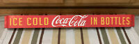 Coca Cola Door Push Fishtail Soda Pop Bottle Metal Sign Vintage Style Ice Cold