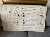 Vintage 1950 Stanley Tools Instructional Charts Education