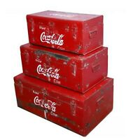 Coca Cola Vintage retro Classic Metal Box Chest With Handles Distressed Paint