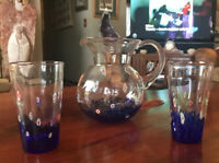 Beautiful Murano (?) Blue Tinged Glass Millefiori Pitcher Carafe With 2 Glasses