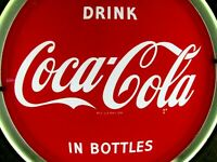 c1950's COCA COLA LIGHTED BUTTON SIGN NEON PRODUCTS INC NPI LIMA OHIO CLOCK NOT
