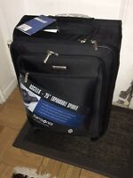 "Samsonite Luggage Ascella 25"" Expandable Spinner Checked Bag Upright Black"