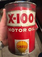 *NEW* Vintage Shell X-100 Motor Oil Full Can SAE 10-W 1 One US Quart