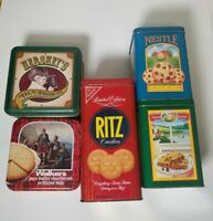 Vintage Lot of 5 Cracker Tins - Ritz, Walkers, Hersheys, Nestle